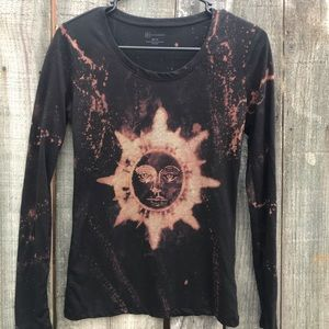 Upcycled distressed bleached shirt size medium